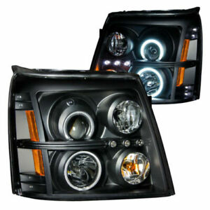 Anzo 111142 Set Of 2 Black Ccfl Halo Projector Headlights For 02 06 Escalade