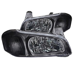 Anzo 121110 Set Of 2 Black Crystal Headlights For 2000 2001 Nissan Maxima