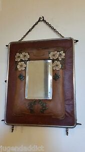Antique Tri Fold Leather Vanity Shaving Glass Mirror Victorian Panel Art Nouveau