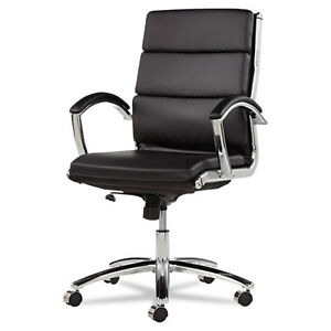 Lot Of 4 Black Leather Conference Room Table Chairs With Padded Arms