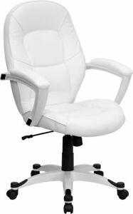 White Leather Executive Computer Office Desk Chair