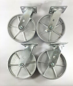 8 X 2 Steel Wheel Caster Swivel 4ea