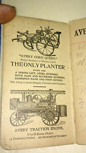 Avery Mfg Co Farm Machinery Pocket Ledger Hit Miss Traction Engine Cultivator