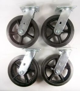 8 X 2 Rubber On Cast Iron Caster Swivel 4ea
