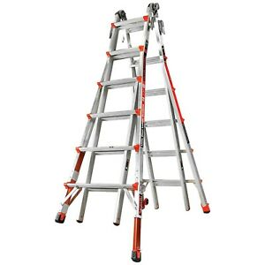 Little Giant 12026 801 23 foot Ladder With Ratcheting Levelers 300lb Capacity