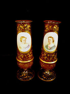 Rare Moser Glass Gilt Cranberry Vases W Children Portraits On Porcelain 1880