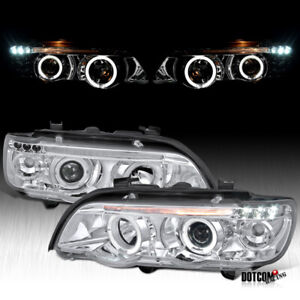 2001 2003 Bmw E53 X5 Dual Halo Led Projector Headlights Head Lamps Left Right