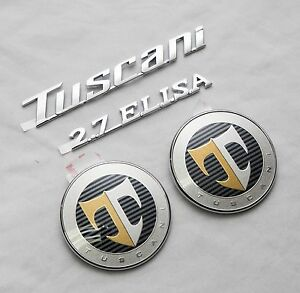 Tuscani 2 7 Elisa Hood Rear T Logo Emblem Set 4pcs For Hyundai Tiburon Coupe