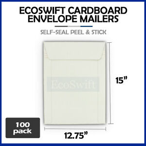 100 12 75 X 15 Self Seal White Photo Ship Flats Cardboard Envelope Mailers