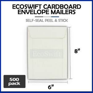 500 6 X 8 White Cd dvd Photo Ship Flats Cardboard Envelope Mailer Mailers