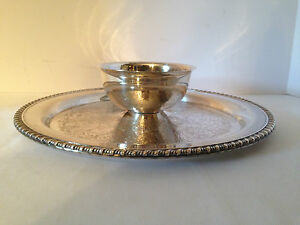 Wma Rogers Silverplate Serving Tray With Attached Bowl 12 1 4 Diameter