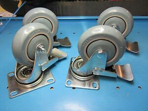 New Free Ship 4 Count Lot Albion 4 X 1 1 4 Locking Swivel Casters W prevenz