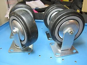 New Free Ship 4 Count Lot 6 X 2 Casters Rubber Wheels 2 Swivel