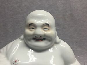 A Large Chinese Famille Rose Porcelain Sitting Laughing Buddha 1930 Mao Jisheng