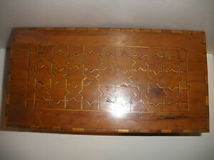 Great Antique 19thc Early Wood Walnut Inlay Document Jewelry Wooden Box