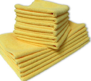 48 New Microfiber Towels New Cleaning Polishing Cloths Bulk 16x16 Gold 330 Gsm