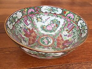 A Large Chinese Canton Porcelain Punch Bowl Qing Dynasty
