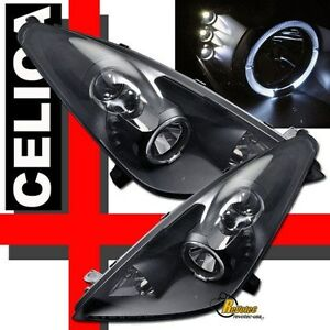 Halo Angel Eye Led Black Projector Headlights 1 Pair For 2000 2005 Toyota Celica
