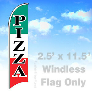 Pizza Windless Swooper Feather Flag 2 5x11 5 Banner Sign Wb