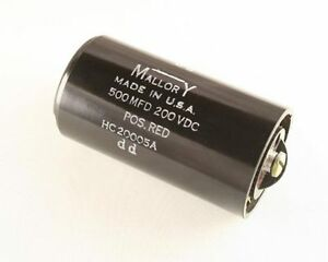 Mallory Hc20005a 500uf 200v Large Can Electrolytic Capacitor