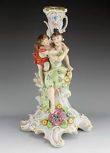 Sitzendorf Lady Mother Putti Child Large 14 1 2 Tall Figural Porcelain Statue