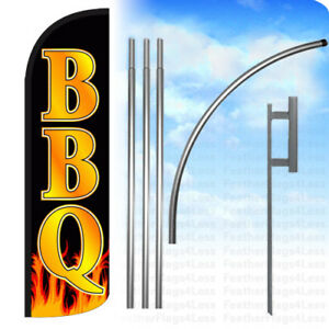 Bbq Windless Swooper Feather Flag Kit Banner Sign Kq