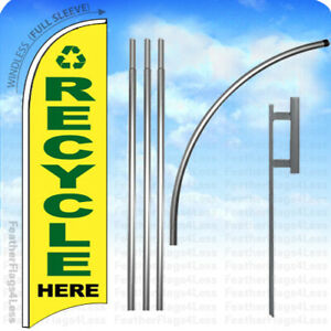 Recycle Here Windless Swooper Feather Flag Kit Banner Sign Yb