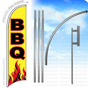 Bbq Windless Swooper Feather Flag Kit Banner Sign Yb