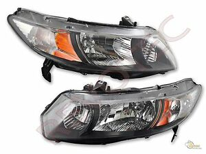 Black Housing Headlights Rh Lh For 2006 2011 Honda Civic 2dr Coupe