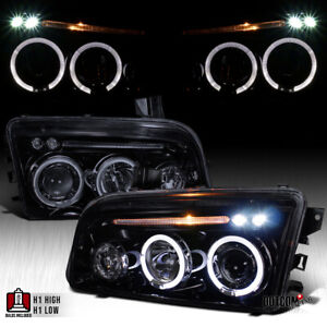 Black Smoke 2006 2010 Dodge Charger Halo Led Projector Headlights Head Lamps