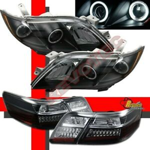 Black Ccfl Halo Projector Headlights Led Tail Lights For 07 08 09 Toyota Camry