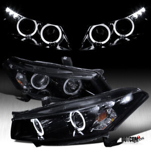 For 2008 2012 Honda Accord 2dr Coupe Black Smoke Led Halo Projector Headlights