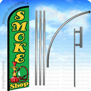 Smoke Shop Windless Swooper Flag 15 Kit Feather Banner Sign Gf