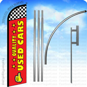 Quality Used Cars Windless Swooper Flag 15 Kit Feather Banner Sign Rf