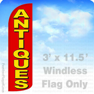 Antiques Windless Swooper Flag Feather Banner Sign 3x11 5 Rq