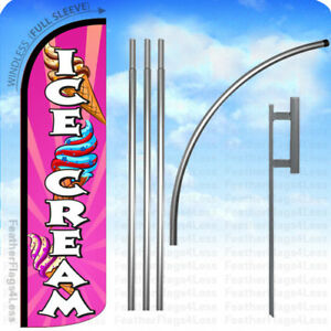 Ice Cream Windless Swooper Feather Banner Flag 15 Kit Pq