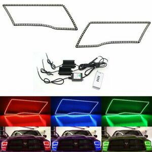 Rgb Multi color Led Angel Eye Halo Rings For 2009 17 Dodge Ram Truck W remote