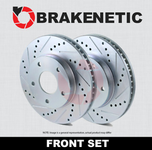 Front Set Brakenetic Sport Drilled Slotted Brake Rotors Cobra Bns61044 Ds
