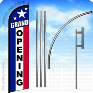 Grand Opening Windless Swooper Flag Kit 15 Feather Banner Sign Stars F