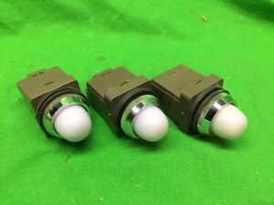 lot Of 3 Idec White Cap Indicator Light Apn 200 220v
