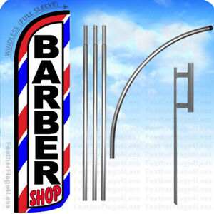 Barber Shop Windless Swooper Flag 15 Kit Feather Banner Sign Bq