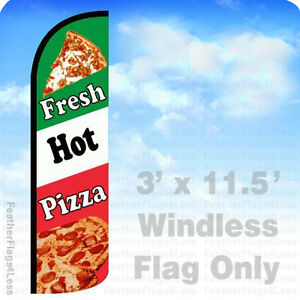 Fresh Hot Pizza Windless Swooper Flag Feather 3x11 5 Banner Sign Gq93