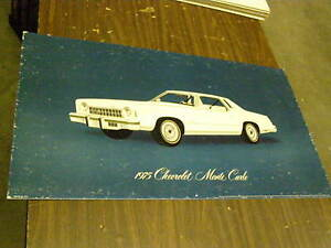 Oem 1975 Chevrolet Monte Carlo Dealership Display Picture Cardboard