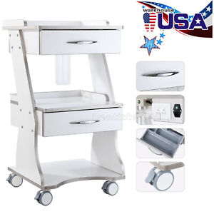 Mobile Dental Built in Socket Tool Cart Metal Trolley Auto water Bottle Supply