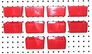 Small Plastic Red Pegboard Storage part Bins 10 Pack Jsp Brand
