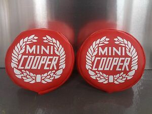 Classic Mini Cooper Auxillary Lamp Covers Fog Spot Light In Red With Wreath Logo