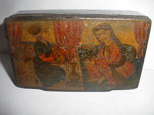 Antique 19thc Persian Paper Mache Lacquer Box Two Seated Islamic Men Scene