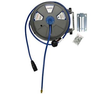 8mm 1 4 X 15m 50ft Retractable Wall Mounted Air Hose Line Reel At877