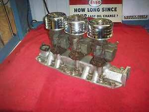 Vintage 1950 S Sharp Flathead Ford 3 Deuce Intake Manifold W Stromberg 97 Carbs
