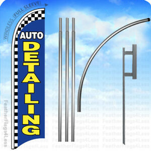 Auto Detailing Windless Swooper Feather Banner Sign Flag 15 Kit Checkered Bb